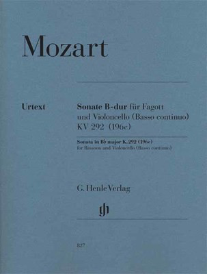 Sonata B flat major K 292 - for Bassoon and Violoncello (Basso continuo) - Wolfgang Amadeus Mozart - Bassoon G. Henle Verlag