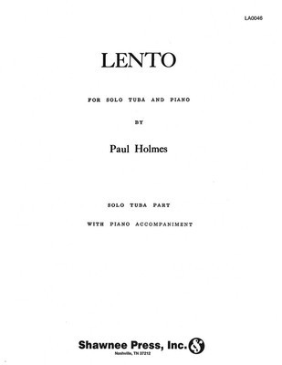 Lento - Tuba in C (B.C.) and Piano - Paul Holmes - Tuba Shawnee Press Softcover