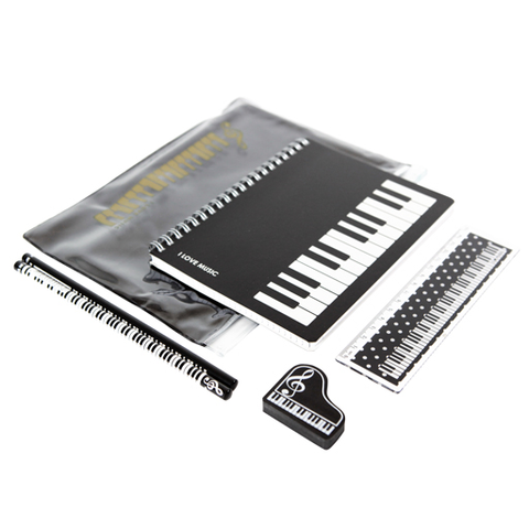 A5 Zipper Stationery Set -  Keyboard theme in clear pencil case - Adlib Music