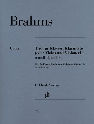 Piano Trios Op. 114 A minor - for Clarinet, Cello and Piano - Johannes Brahms - G. Henle Verlag - Piano Trio