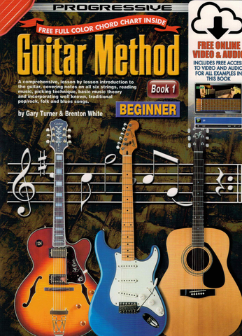 Progressive Guitar Method Book 1 with Online Video & Audio/Chart - Turner White - Koala Publications