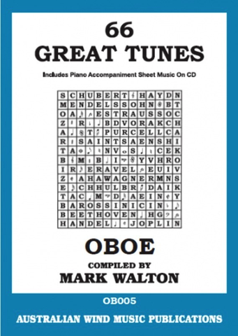 66 Great Tunes For Oboe Book/CD - includes Piano Accompaniment Sheet Music On CD - AWMP