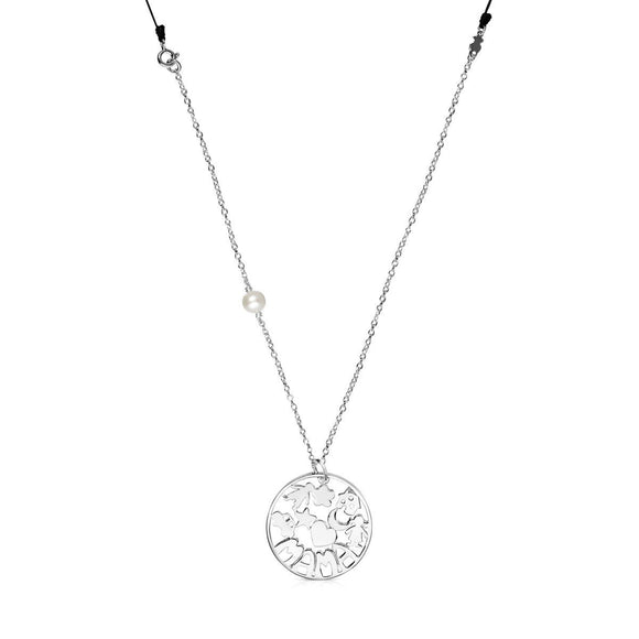 Tous Mama Necklace in Silver and black cord 914154550