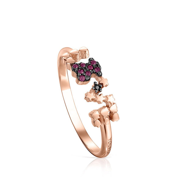 Tous Rose Gold Vermeil San Valentín love Ring with Ruby and Spinel 915305551