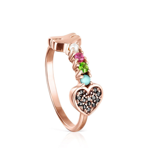 Tous Rose Gold Vermeil San Valentín arrow Ring with Gemstones 915305511