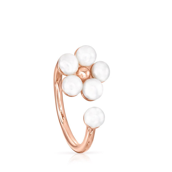 Tous Rose Gold Vermeil Real Sisy Ring with Pearls 812455510
