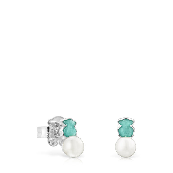 Tous Mini Color Earrings in Silver with Amazonite and Pearl 915433680