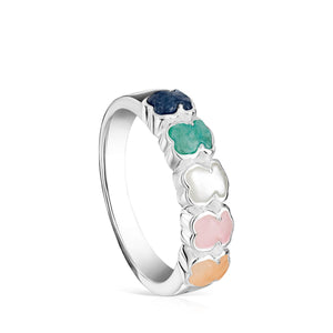 Tous Mini Color Ring in Silver with Gemstones 915435531