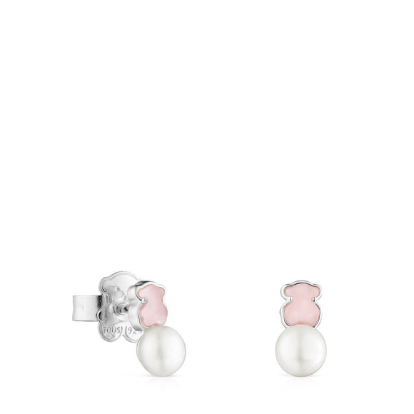 Tous Mini Color Earrings in Silver with rose Quartzite and Pearl 915433690
