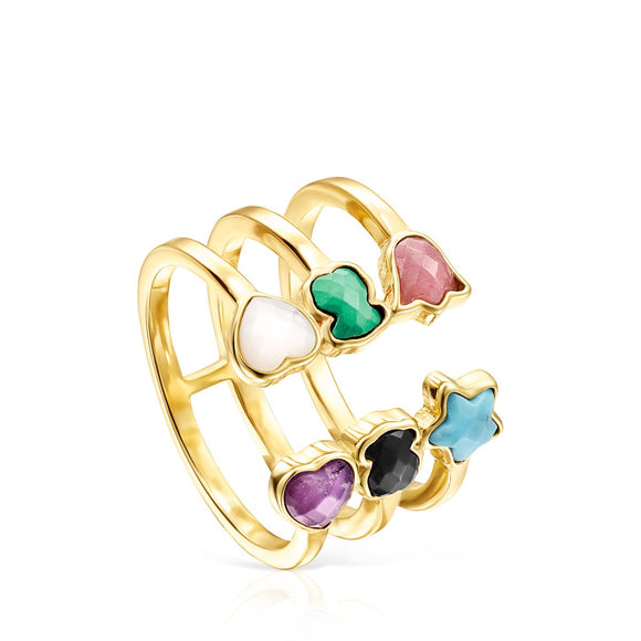 Tous Glory Open Ring in Gold Vermeil with Gemstones 918595520