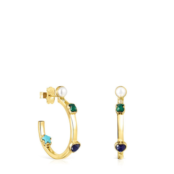 Tous Small Glory Earrings in Gold Vermeil with Gemstones 918593510