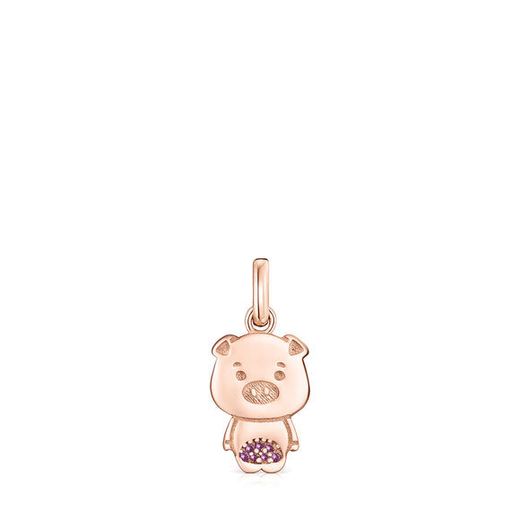 Tous Chinese Horoscope Pig Pendant in Rose Gold Vermeil with Ruby 918434540