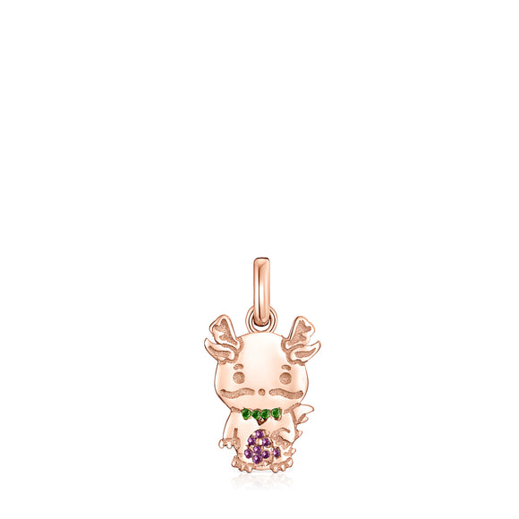 Tous Chinese Horoscope Dragon Pendant in Rose Gold Vermeil, Ruby and Chrome Diopside 918434560
