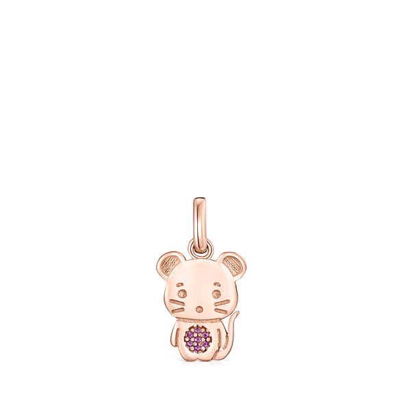 Tous Chinese Horoscope Rat Pendant in Rose Gold Vermeil with Ruby 918434600