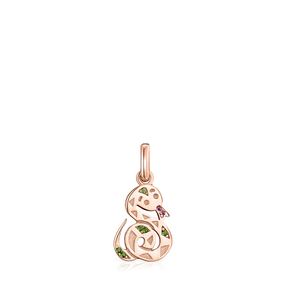 Tous Chinese Horoscope Serpent Pendant in Rose Gold Vermeil, Ruby and Chrome Diopside 918434610