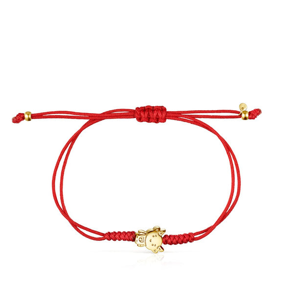 Tous Chinese Horoscope Ox Bracelet in Gold and Red Cord 918431020