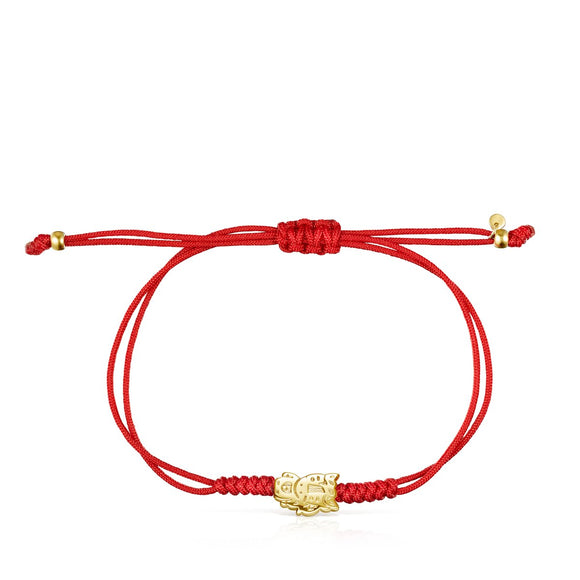 Tous Chinese Horoscope Horse Bracelet in Gold and Red Cord 918431030