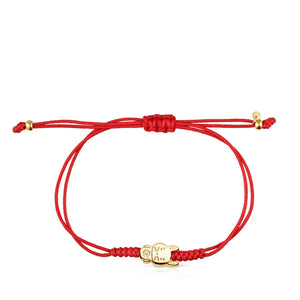 Tous Chinese Horoscope Rabbit Bracelet in Gold and Red Cord 918431050