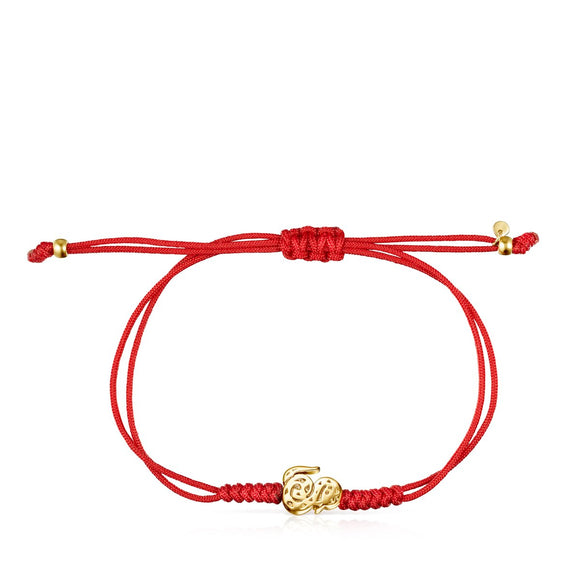 Tous Chinese Horoscope Snake Bracelet in Gold and Red Cord 918431110