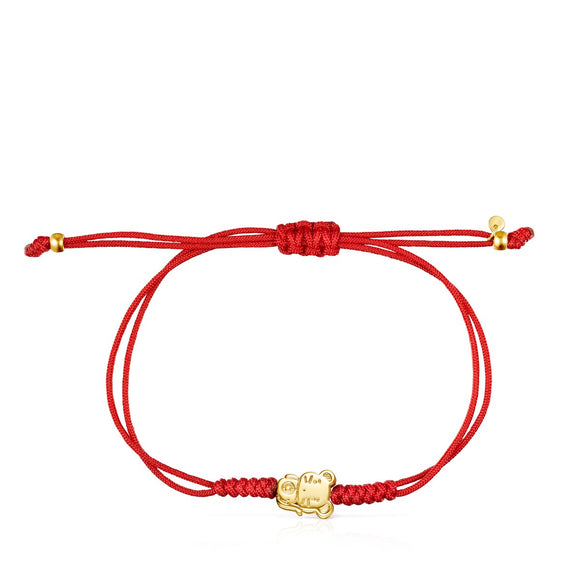 Tous Chinese Horoscope Rat Bracelet in Gold and Red Cord 918431100