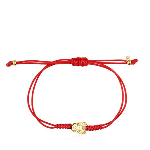 Tous Chinese Horoscope Tiger Bracelet in Gold and Red Cord 918431120