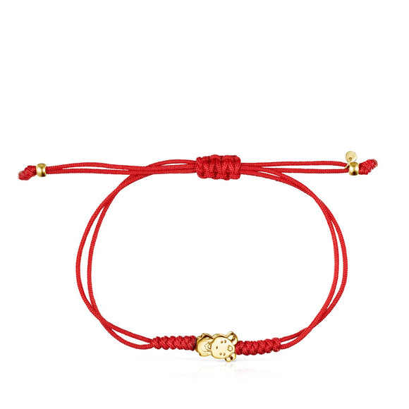 Tous Chinese Horoscope Goat Bracelet in Gold and Red Cord 918431040