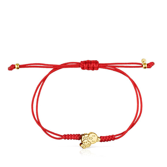 Tous Chinese Horoscope Rooster Bracelet in Gold and Red Cord 918431070
