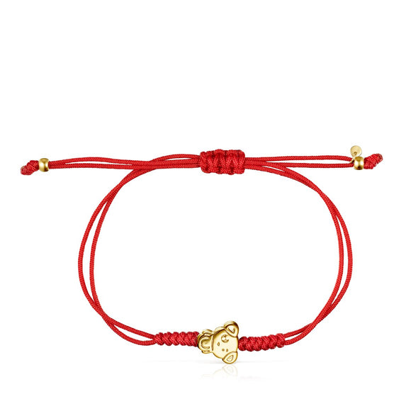 Tous Chinese Horoscope Dog Bracelet in Gold and Red Cord 918431090