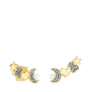 Tous Nocturne Earrings in Gold Vermeil with Diamonds and Pearl 918443710
