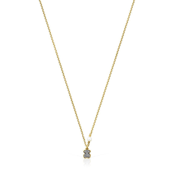Tous Nocturne bear Necklace in Gold Vermeil with Diamonds and Pearl 918442590