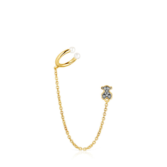 Tous Nocturne 1/2 Earring in Gold Vermeil with Diamonds and Pearl 918443640