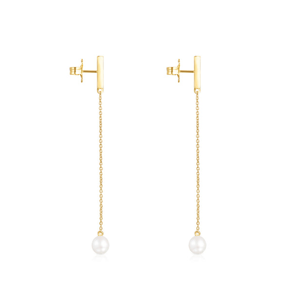 Tous Long Nocturne bar Earrings in Gold Vermeil with Diamonds and Pearl 918443730