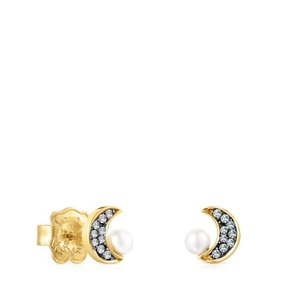 Tous Nocturne half-moon Earrings in Gold Vermeil with Diamonds and Pearl 918443800