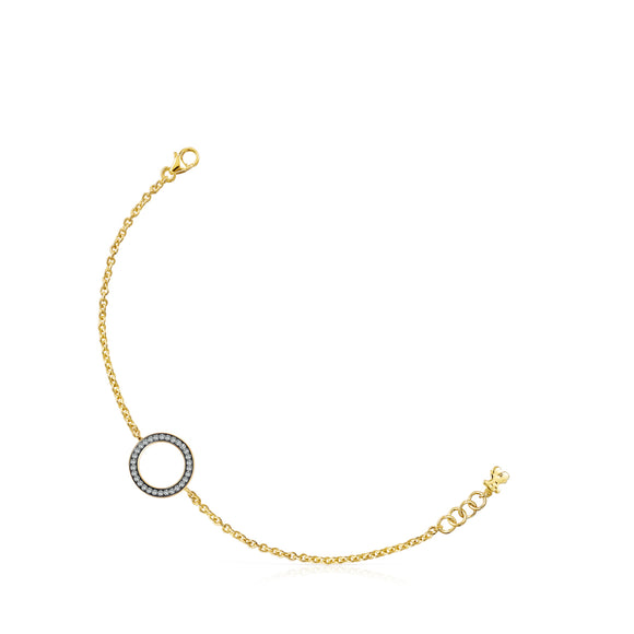 Tous Nocturne disc Bracelet in Gold Vermeil with Diamonds 918441610