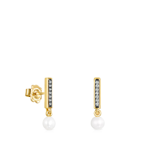 Tous Nocturne bar Earrings in Gold Vermeil with Diamonds and Pearl 918443740