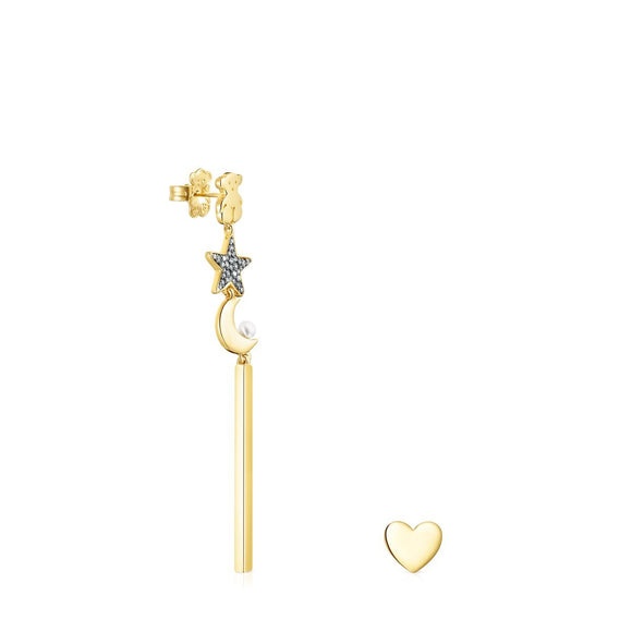 Tous Long Nocturne Earrings in Gold Vermeil with Diamonds and Pearl 918443790
