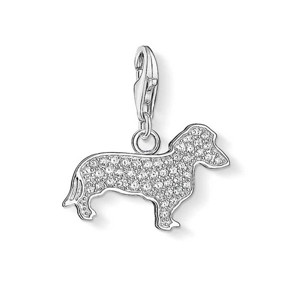 Thomas Sabo Silver Pave Cubic Zirconia Dog Charm 1098-051-14