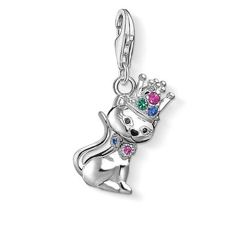 "THOMAS SABO CHARM PENDANT ""CAT WITH CROWN "" 1486-338-7"