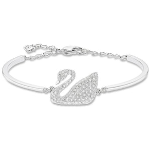 Swarovski Swan Bangle, White, Rhodium Plating 5011990