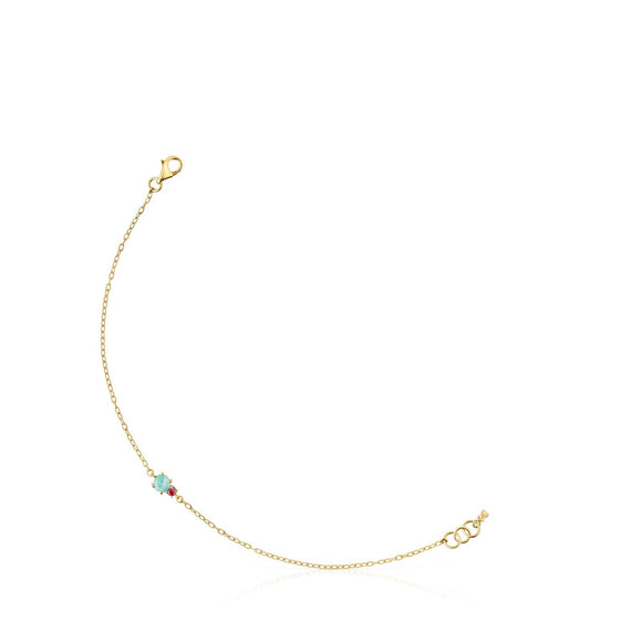 Tous Mini Ivette Bracelet in Gold with Amazonite and Ruby 912191010