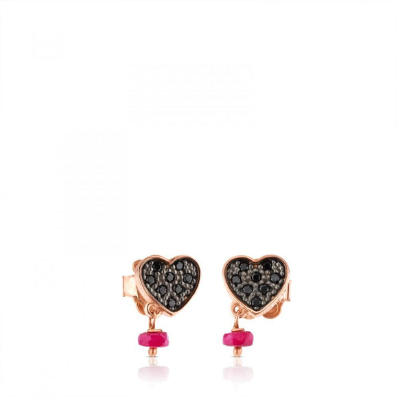 Tous Rose Vermeil Silver Motif Earrings with Spinel and Ruby 314933510