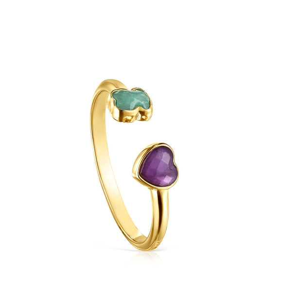 Tous Glory Vermeil Silver Open Ring with Amazonite and Amethyst 918595510