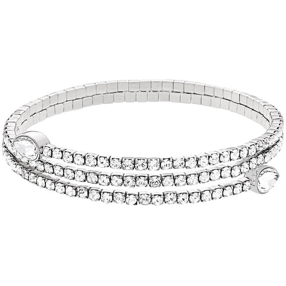 Swarovski Twisty Drop Bangle, White, Rhodium Plating 5073592