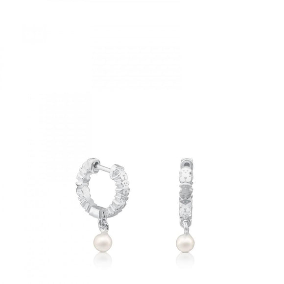 Tous Silver Straight Earrings with Pearl 512723510