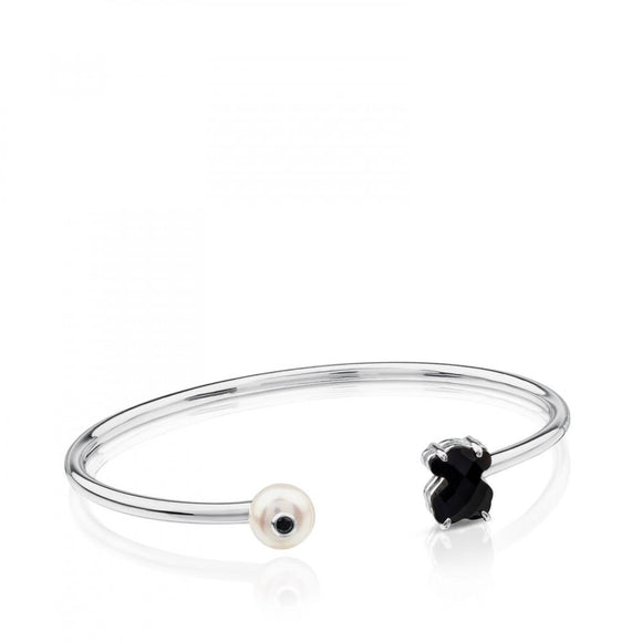 Tous Silver Erma Bracelet with Onyx, Pearl and Spinel 513631500