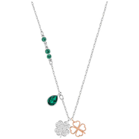 SWAROVSKI NECKLACE DUO CLOVER GREEN MIXED PLATING 5139471