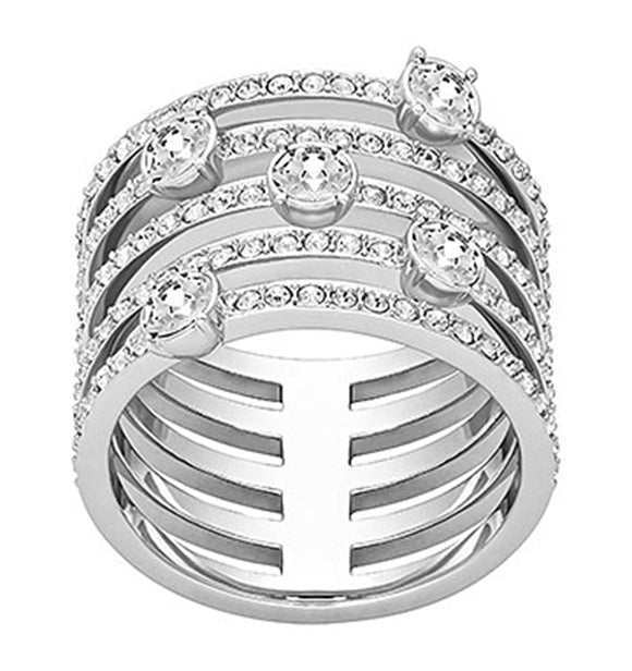 Swarovski Creativity Ring Wide Rhodium Plating