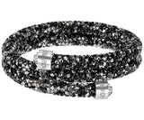 Swarovski Crystaldust Bangle Double, Dark Crystals 5237757