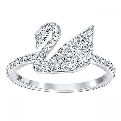 Swarovski Iconic Swan Ring White Rhodium Plating
