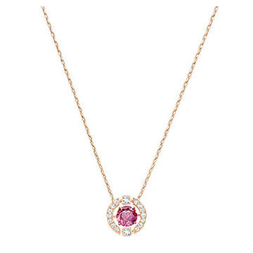 Swarovski Sparkling Dance Round Necklace, Red, Rose gold plating 5279421